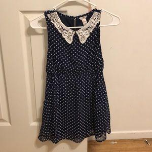 Blue Polka Dot dress with Neck Lace